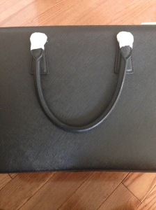 back of prada bag black saffiano