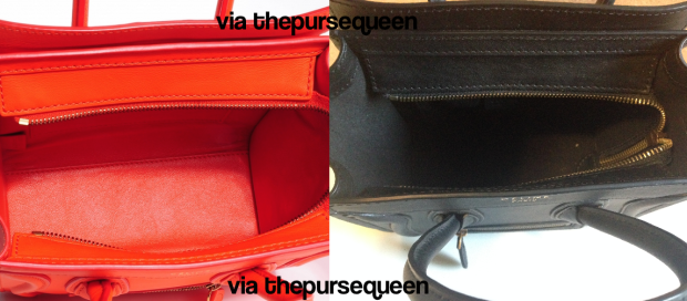 celine nano fake vs real authentic vs replica inside of bag