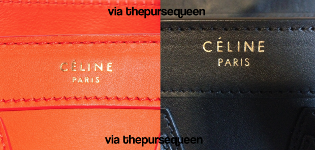 celine nano fake vs real authentic vs replica logo of bag on front