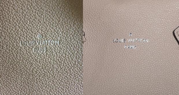 LOUIS VUITTON Veau Cachemire Soft Lockit MM fake vs real logo front of bag1